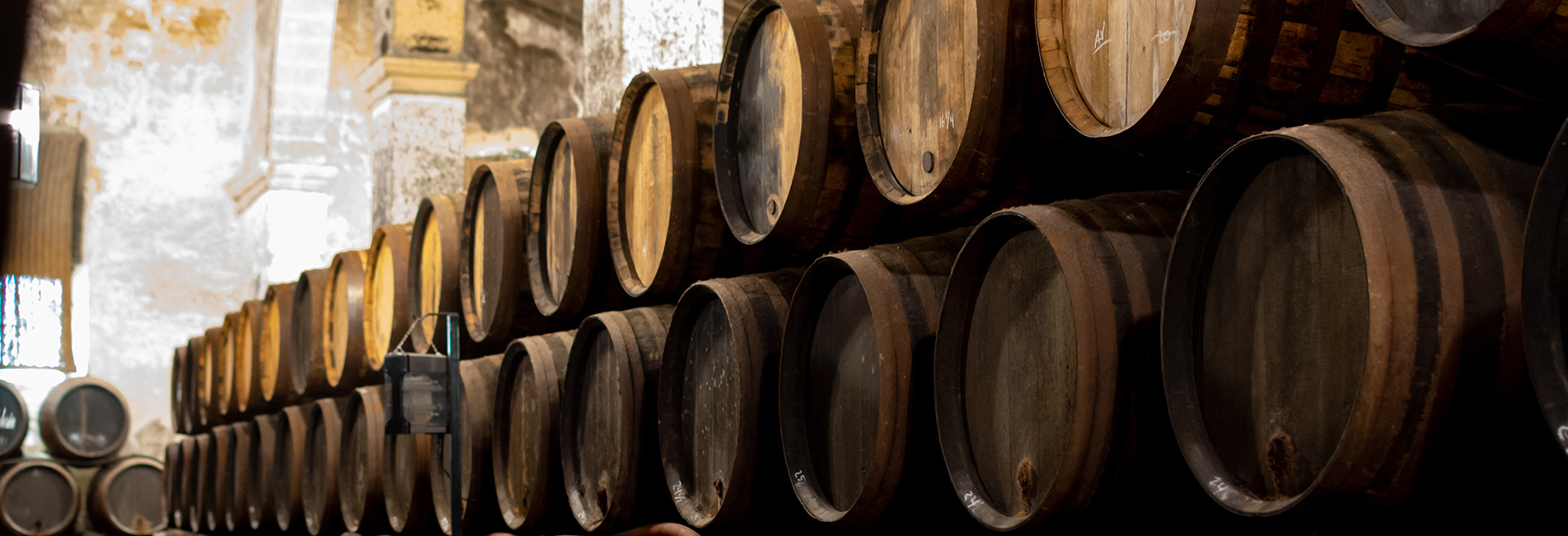 Production of fortified jerez, xeres, sherry wines in old dark oak barrels in sherry triangle, Jerez la Frontera, El Puerto Santa Maria and Sanlucar Barrameda Andalusia, Spain